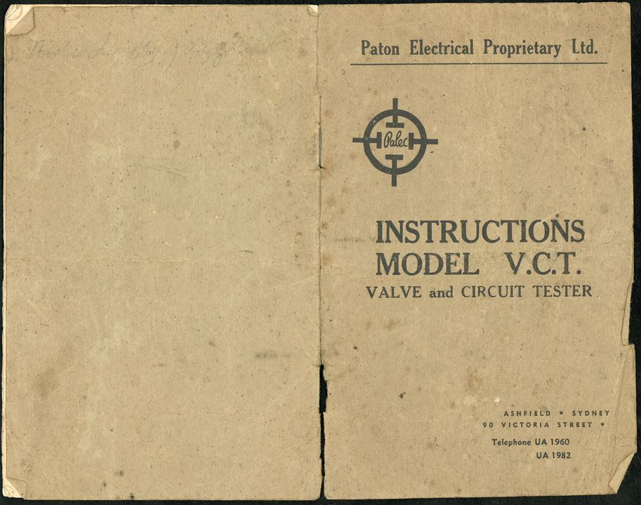 85/593 Instruction booklet, for valve & circuit tester, Paton Electrical Pty Ltd, c 1940s. Click to enlarge.