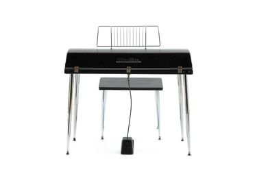 2021/70/2 Electric piano with stool and case, 'Wurlitzer 200A', plastic / timber / metal / electronic components, co-invented by Paul Renard / Howard Holman for Wurlitzer in Chicago, made by The Wurlitzer Company, Illinois, United States of America, 1954-1983