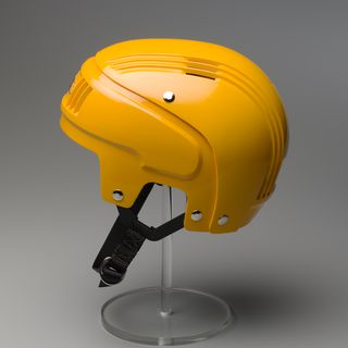 87/1040D Sports safety helmet, 'Stackhat', with packaging, plastic / metal / cardboard, designed by PA Technology, made by Rosebank Products Pty Ltd, Victoria, Australia, 1987