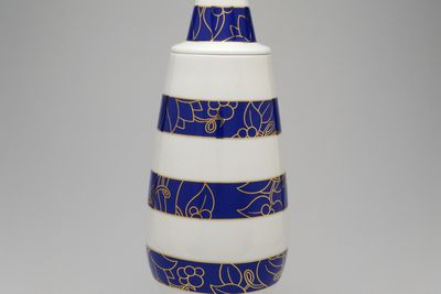 2000/112/2 Vase and cover, '100% make up' series, porcelain, designed by Alessandro Mendini and Michael Graves for Alessi, Italy/ Germany, 1989-1992