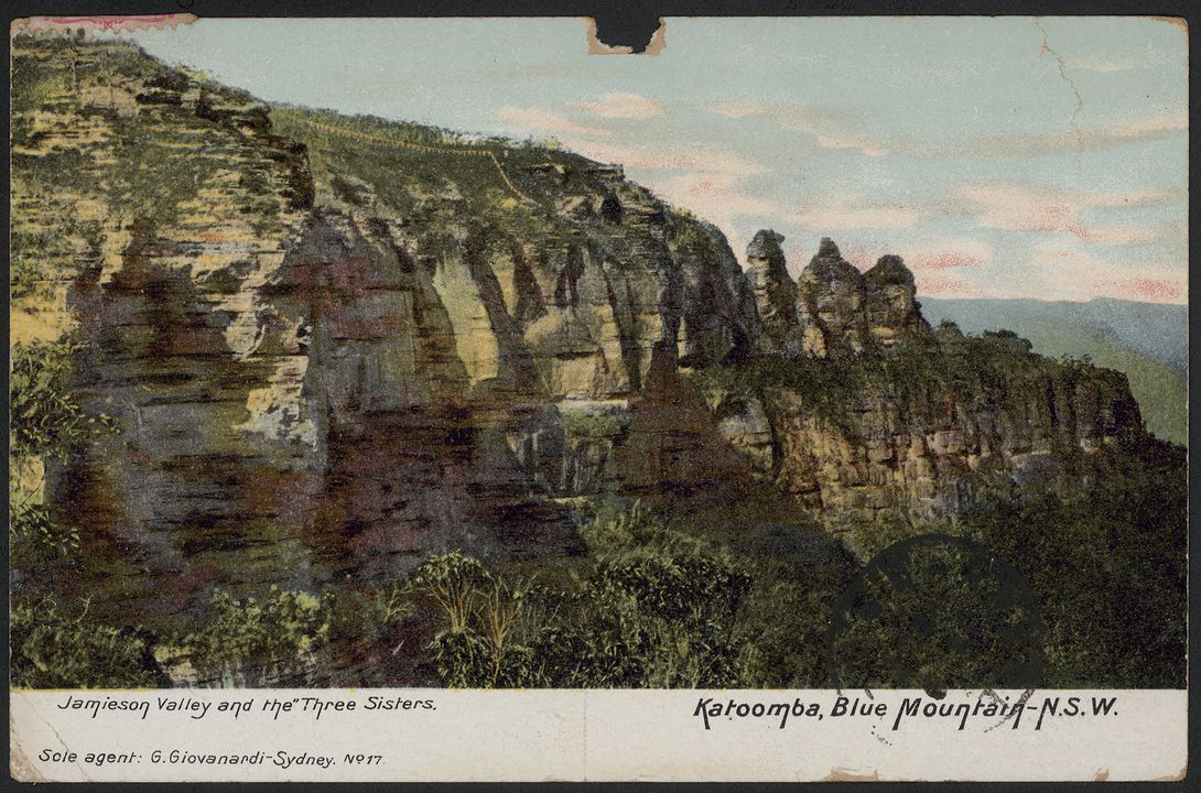 96/150/1-124 Postcard (1 of 809), photograph mechanical print, 'Jamieson Valley and the Three Sisters, Katoomba', paper, G. Giovandardi, Sydney, New South Wales, Australia, 1908. Click to enlarge.