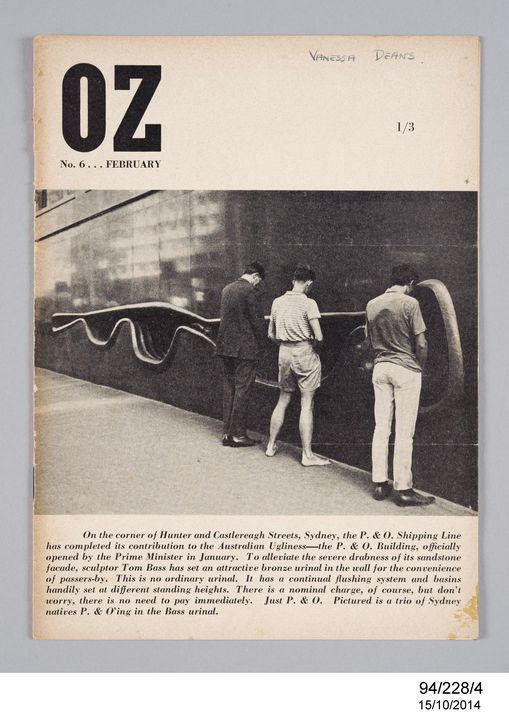 94/228/4 Magazine, OZ, No 6, February 1964, paper, art direction by Martin Sharp, edited by Richard Neville and Richard Walsh, published by Oz Publications Ink Limited, Sydney, New South Wales, Australia, 1963. Click to enlarge.