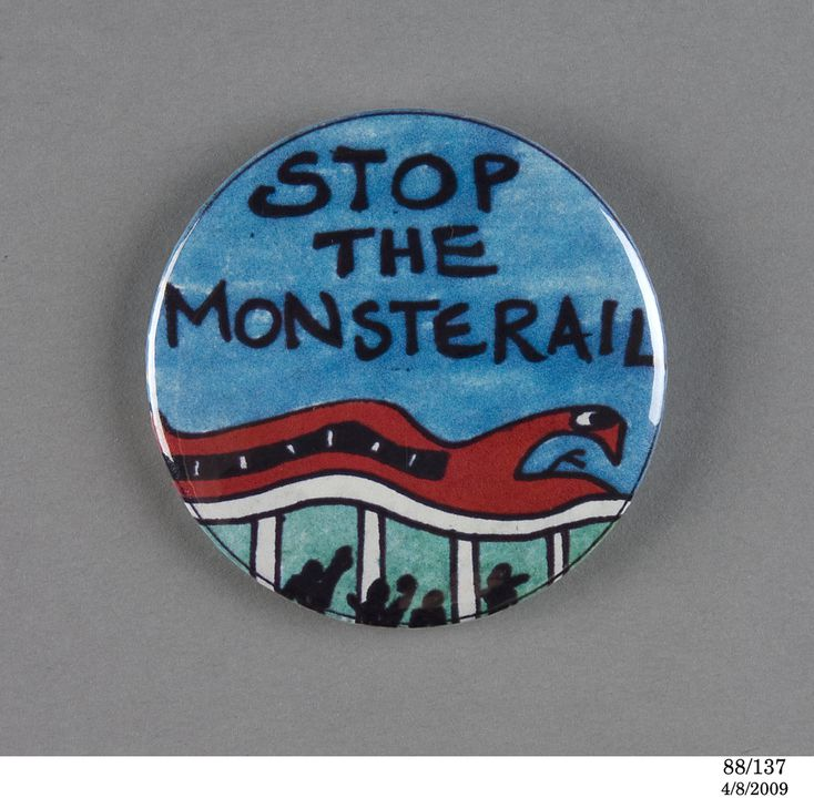 "88/137 Badge, propaganda, protest, anti Sydney Monorail, ""Stop the Monsterail"", Sydney, NSW, Australia, 1986-87. Click to enlarge."