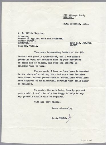 85/112-24 Letters (2), to J L Willis and P G Taylor, paper, written by E Crome, Sydney, New South Wales, Australia, 1961