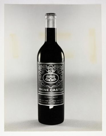 90/501-2 Photograph, black and white print, image of wine bottle label designed by Alistair Morrison, photographed by Max Dupain, Sydney, New South Wales, Australia, 1958-1963