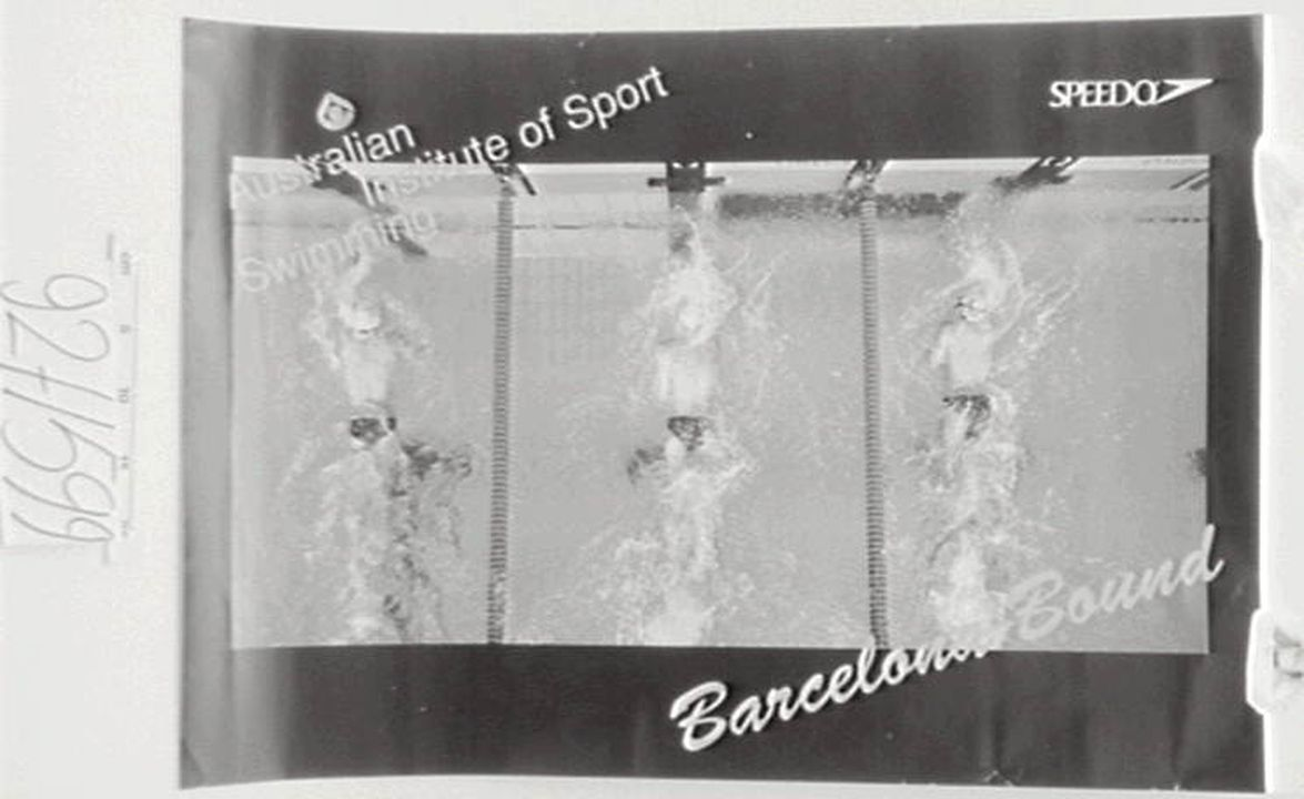 92/1599 Poster, 'Australian Institute of Sport Swimming-Barcelona Bound', paper, Speedo, Australia, 1990-1991. Click to enlarge.