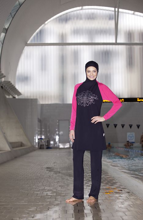 2012/43/1 Swimsuit, 'slim-fit' burqini (R), polyester, Ahiida(TM), designed and made by Aheda Zanetti, Sydney, New South Wales, Australia, 2011. Click to enlarge.