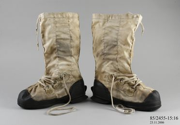 85/2455-15 Boot, Mukluk, rubber/nylon, used during the Australia New Zealand Antarctic Research Expedition, Antarctica, 1966