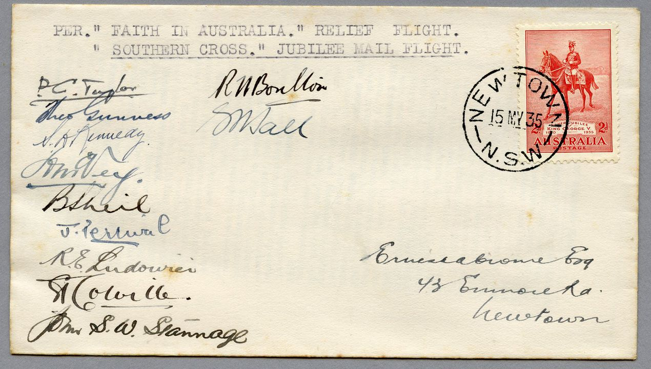 85/112-7 Philatelic cover, Jubilee air mail Australia to New Zealand, signed, paper, sent by E Crome, Sydney, New South Wales, Australia, 1935. Click to enlarge.