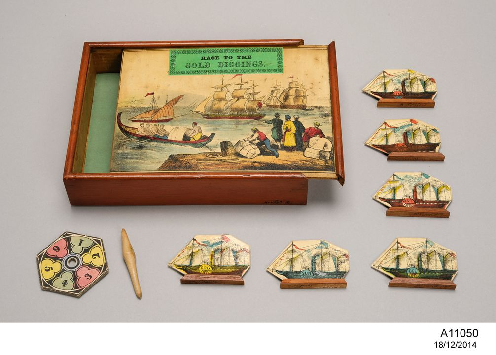 A11050 Board game, 'Race to the gold diggings of Australia', linen / wood / paper, maker unknown, England, 1850-1869.. Click to enlarge.