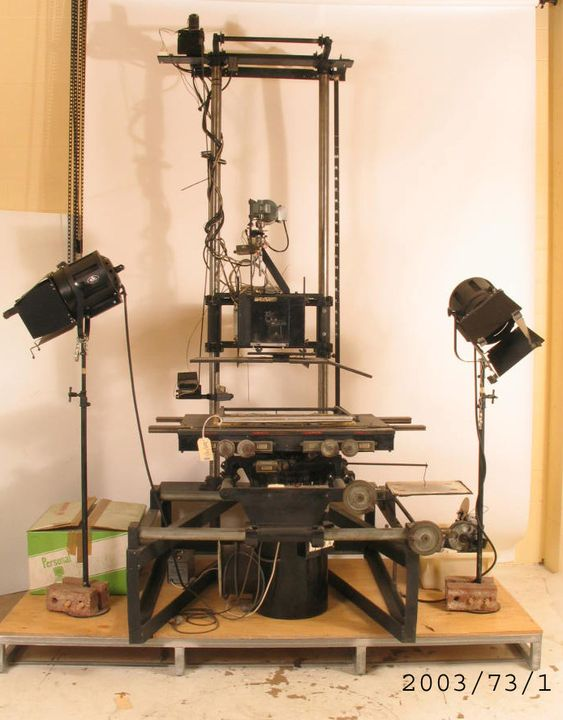 2003/73/1 Animation rostrum, camera and lighting equipment, metal / plastic/ paper, rostrum designed and made by Jack Kennedy and Jim Lynich, 1930-1964. Click to enlarge.