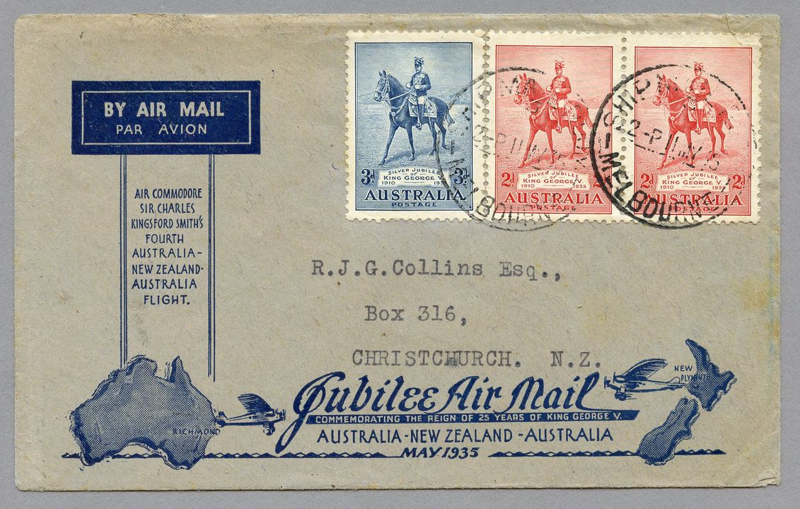 85/112-11 Philatelic cover, Jubilee air mail Australia to New Zealand, from Melbourne, paper, maker unknown, Australia, 1935. Click to enlarge.