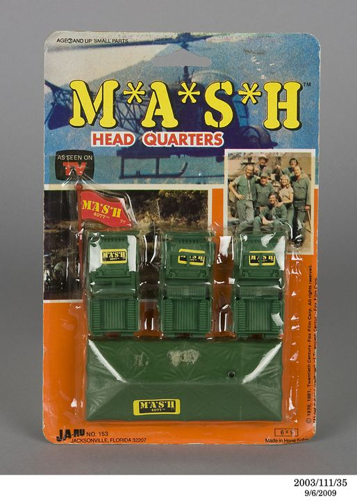 2003/111/35 Toy, 'MASH' head quarters and accessories, with packaging, plastic / card, made by Ja-Ru Inc, Hong Kong, 1981. Click to enlarge.