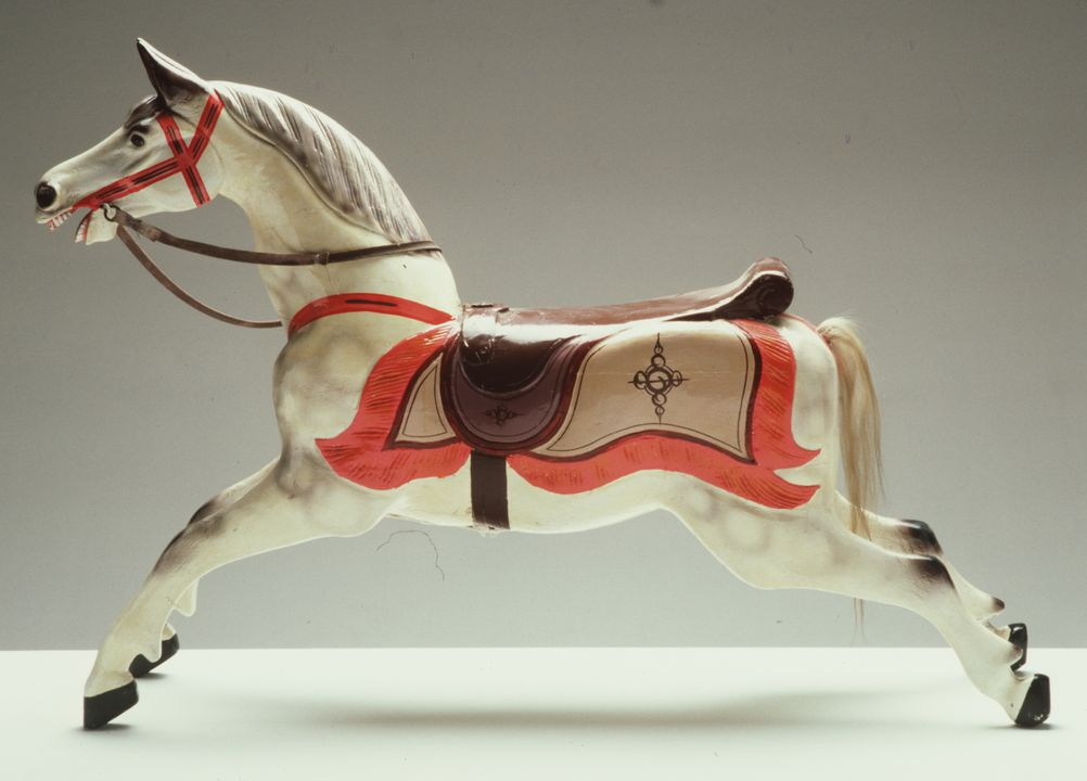 87/977 Carousel horse, reproduction, Galloper type, fibreglass / paint / leather / hair, Sydney, New South Wales, Australia, 1987. Click to enlarge.