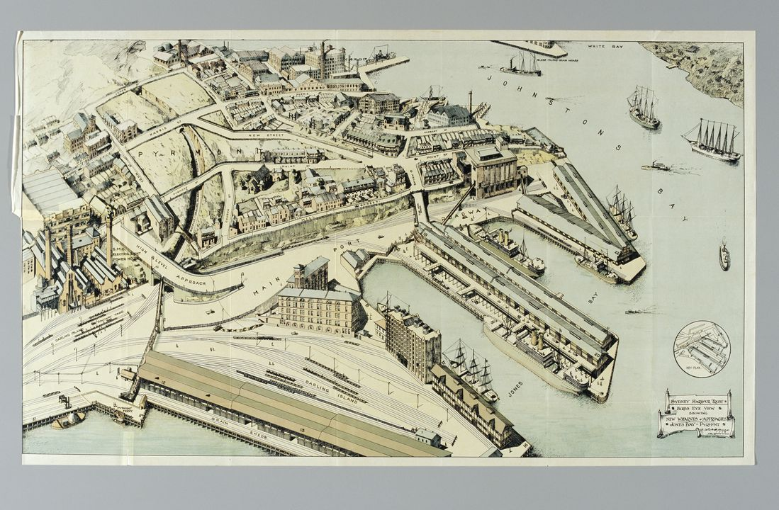 93/108/1 Lithograph, 'Sydney Harbour Trust Birds Eye View Showing New Wharves and Approaches Jones Bay, Pyrmont', paper, designed by W.W. Withers, made for the Sydney Harbour Trust, Sydney, New South Wales, Australia, 1919. Click to enlarge.