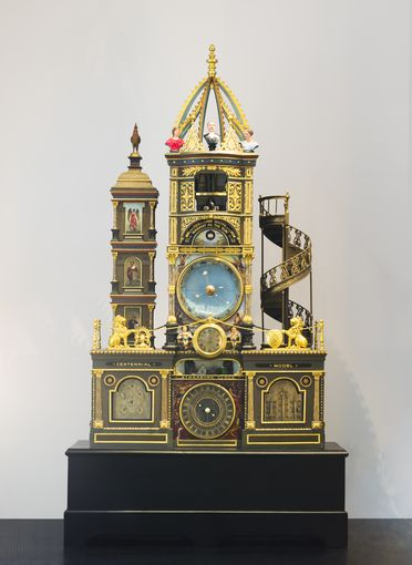 A44 'Strasburg Clock' model and parts, wood / paint / metal / paper, made by Richard Bartholomew Smith, Australia, 1887-1889