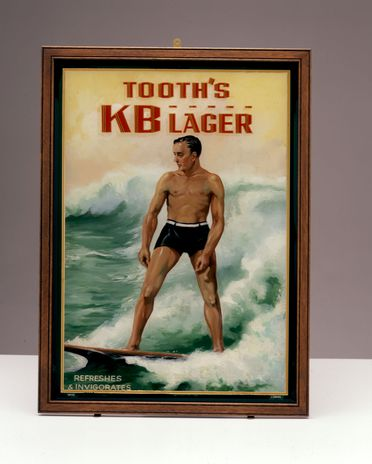 86/3053 Pub painting, advertising, 'Tooth's KB Lager. Refreshes & Invigorates', painted glass/wood, framed, H Rousel, commissioned by Tooth & Co Limited, Sydney, Australia, 1937