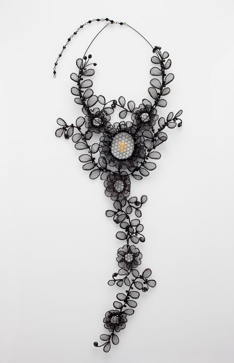 2012/81/1 Necklace, 'Chantilly necklace', enamelled copper wire / Swarowski crystal beads, designed and made by Lenka Suchanek, Vancouver, British Columbia, Canada, 2010. Click to enlarge.