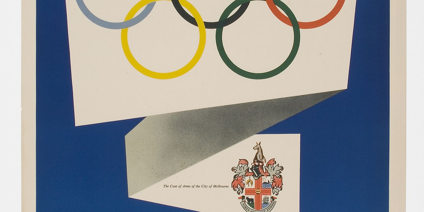 91/14 Poster, 'Olympic Games Melbourne...1956', designed by Richard Beck, Melbourne, Victoria, Australia, printed by Containers Limited, Melbourne, Victoria, Australia, 1956. Click to enlarge.