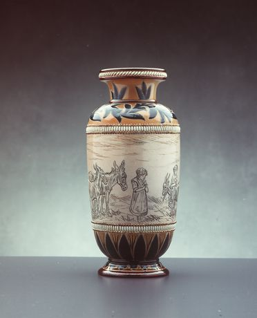 2838 Vase, stoneware, made by Doulton & Co, decorated by Hannah Barlow, Lambeth, England, 1883