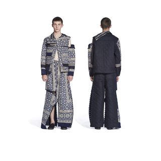 2017/59/1 Outfit, mens, comprising jacket, trousers and pair of plimsolls, Spring-Summer 2017, Look 7, cotton / wool / woodblock printed / hand quilted, designed by Craig Green, London, England, 2016