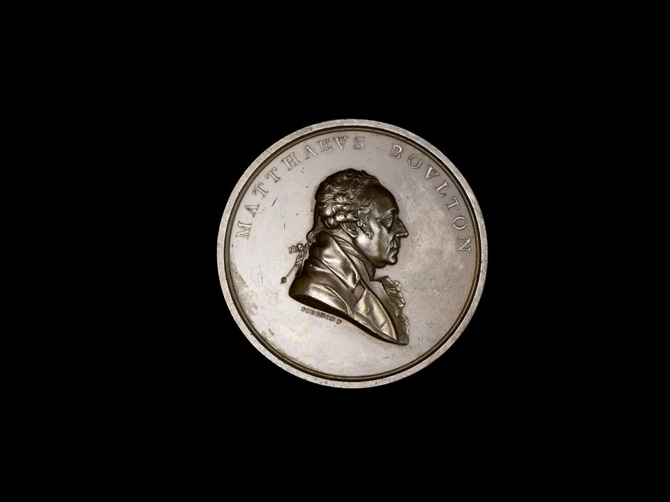 86/316 Medal, 10th anniversary of death of Matthew Boulton, bronze, engraved by F Pidgeon, made at Soho Mint, Birmingham, England,1819. Click to enlarge.
