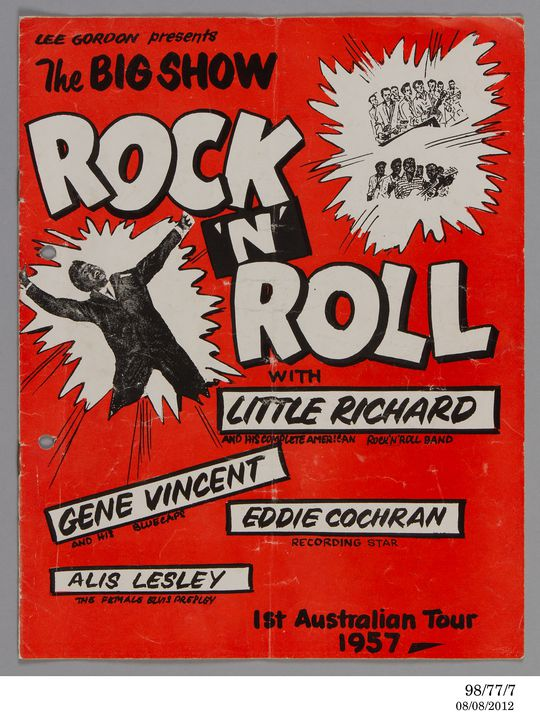 98/77/7 Concert program, 'Lee Gordon Presents the Big Show Rock 'n' Roll with Little Richard', paper, printed by Publicity Press Pty Ltd, Sydney, New South Wales, Australia, 1957. Click to enlarge.