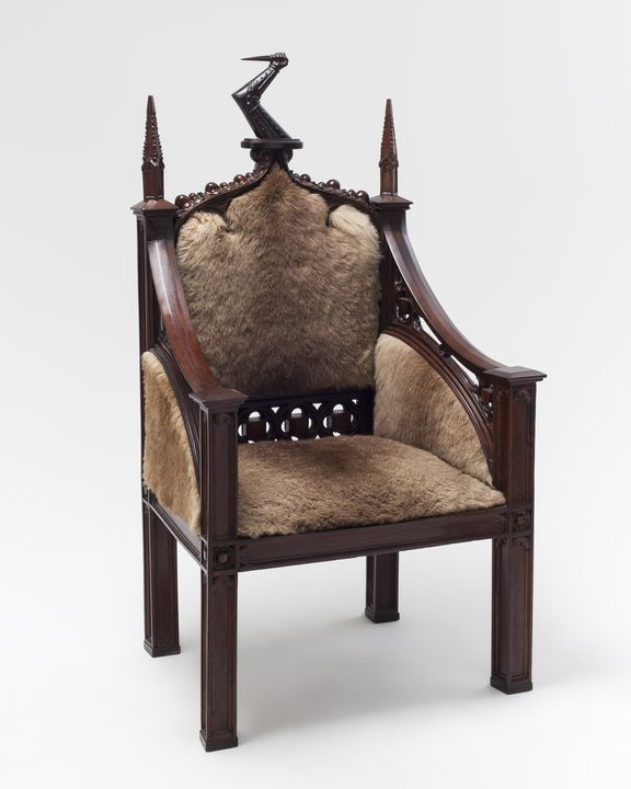H6862 Chair, owned by Governor Lachlan Macquarie, rose mahogany (Dysoxylum fraserianum) / Casuarina / Australian red cedar (Toona ciliata) / modern upholstery of eastern grey kangaroo fur, gothic style, attributed makers John Webster (carver) / William Temple (cabinet maker), New South Wales, Austra. Click to enlarge.