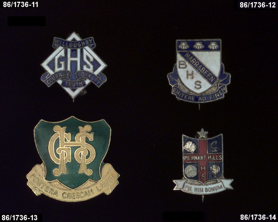 86/1736-12 Badge, Narrabeen Boys' High School, school crest & motto, gilt with blue & white enamel.. Click to enlarge.
