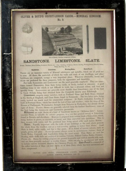 Object lesson card, sandstone, limestone and slate - MAAS Collection